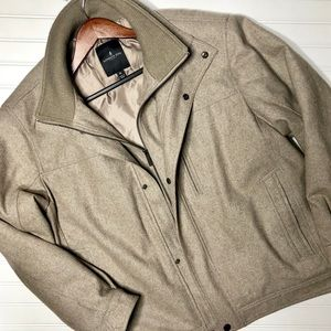🎩 Tan Wool Double Layer Bomber Winter Coat
